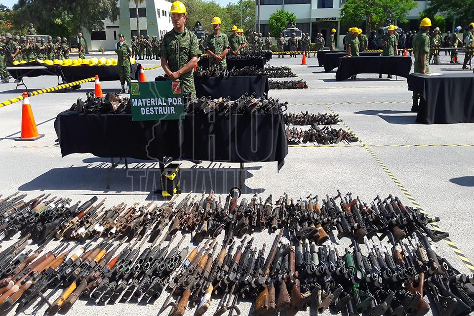 Destruyen armas aseguradas en Tamaulipas, Nuevo León y SLP