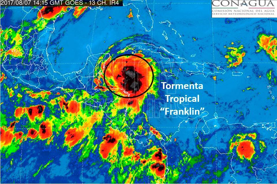 Alerta máxima para Yucatán y Campeche por tormenta Franklin