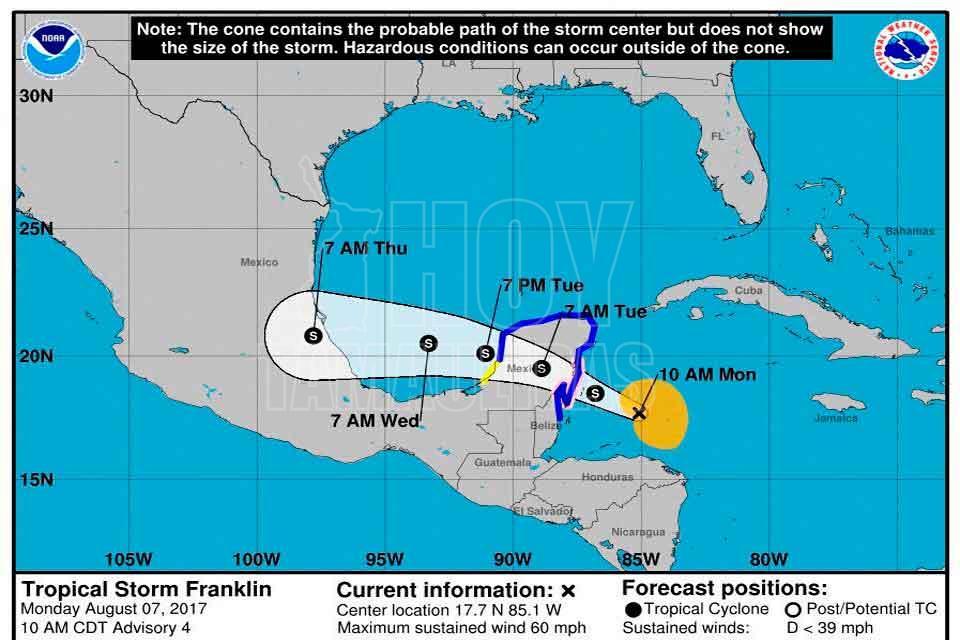 'Franklin' tocará tierra mañana en costas del Golfo de México