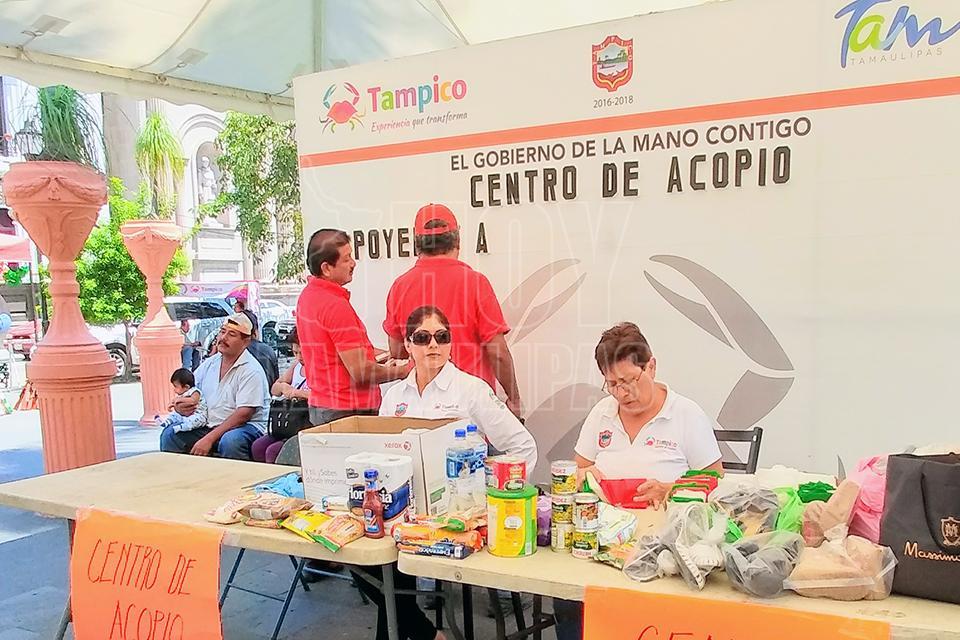 Instalan en Tampico centros de acopio para Oaxaca y Chiapas