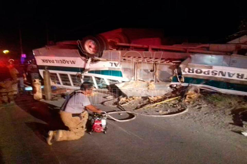 Mueren 7 empleados en volcadura en la Río Bravo - Reynosa